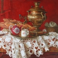 Samovar on a red background